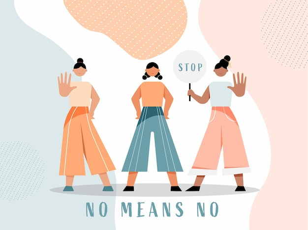 Cartoon young girls protesting with stop symbol on abstract shapes