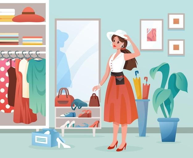 Мультфильм молодая леди, стоя у зеркала, одевание женского персонажа. модный фон одежды