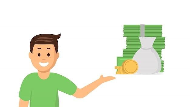 Cartoon young man pointing at money
