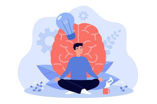 Cartoon young man practicing meditation flat illustration