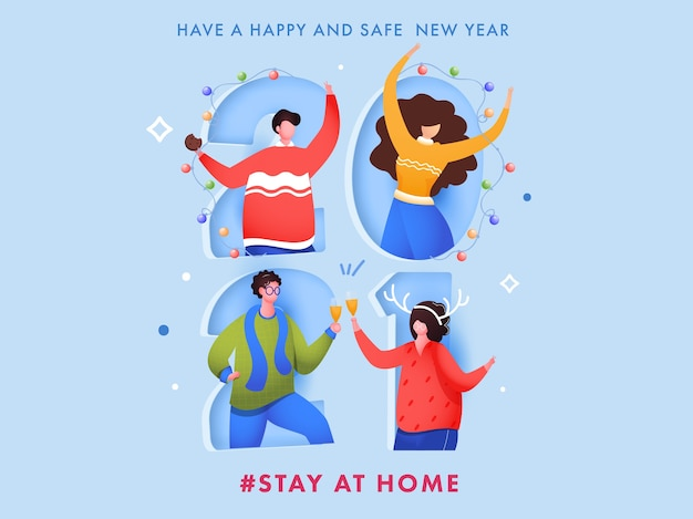 Cartoon young man and woman celebrating new year party on paper cut