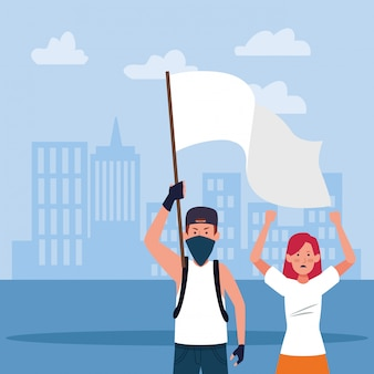 Cartoon young man and woman protesting holding a white flag