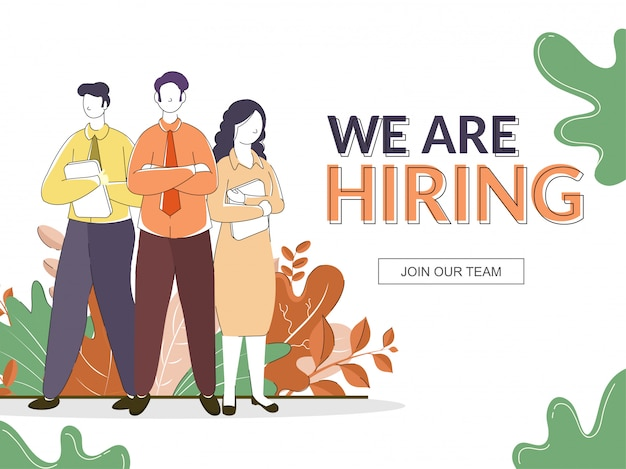 Cartoon young men and woman standing together on nature white, for we are hiring banner