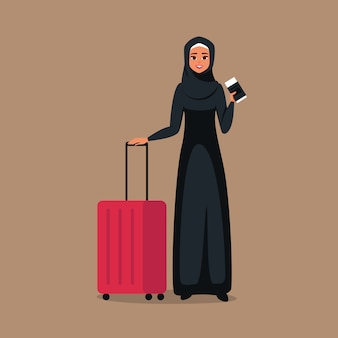 Cartoon young muslim woman stands with tickets and luggage for travel.