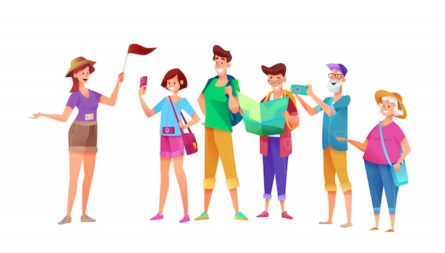 Cartoon young and old tourists group at excursion with tour guide girl with flag. summer characters travelers at vacation. young man and woman, senior female and male characters with camera.