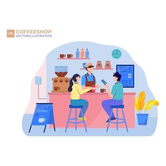 Мультяшные молодые люди общаются и работают в современной кофейне