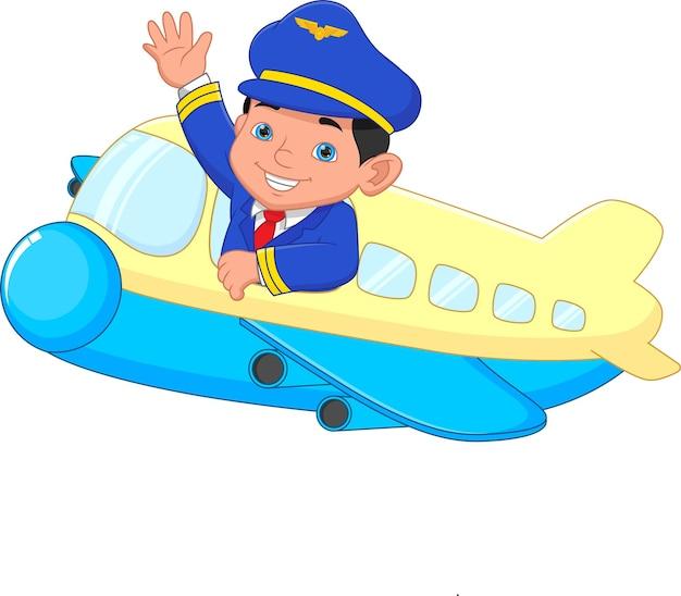 飛行機から手を振って漫画の若いパイロット