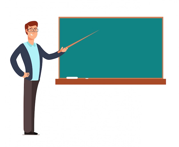 Cartoon young profesor, teacher man at blackboard teaching children in school classroom vector illustration