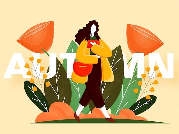 秋の季節に黄色の背景に装飾されたハンドバッグ、花、葉の本を保持している漫画若い女性。
