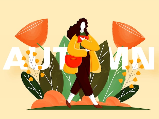 Cartoon young woman holding book with handbag, flowers and leaves decorated on yellow background for autumn season.
