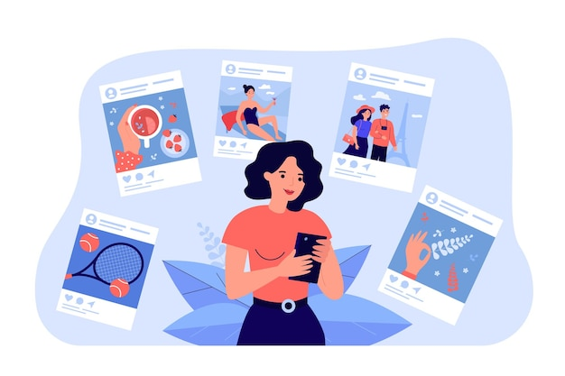 Мультфильм молодая женщина, делящаяся жизненными моментами на плоской иллюстрации социальных сетей