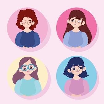 만화 젊은 여성 초상화 캐릭터와 아바타 여성 세트