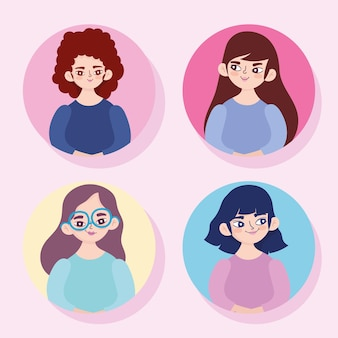 Cartoon young women portrait character and avatar female set