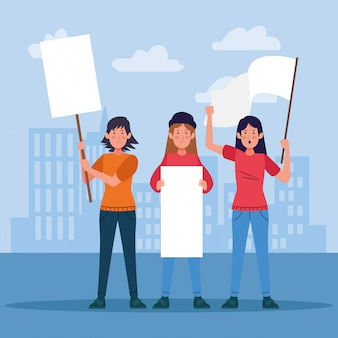 Cartoon young women protesting holding blank signs and white flag