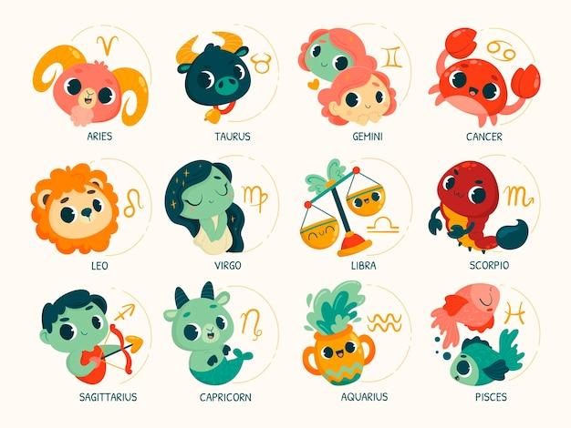 Cartoon zodiac sign collection