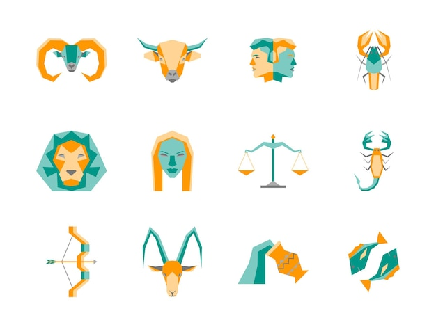 Набор иконок цвета символа зодиака мультфильм плоский дизайн концепции астрологические элементы для интернета.