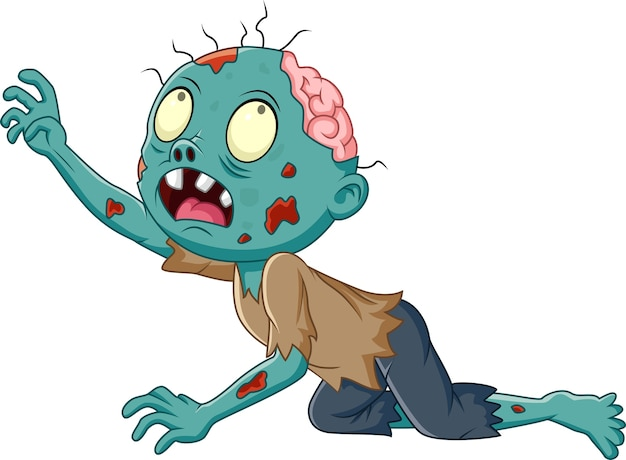 Cartoon zombie crawling isolated on white background