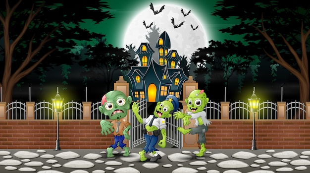 Cartoon of zombie group on the halloween day