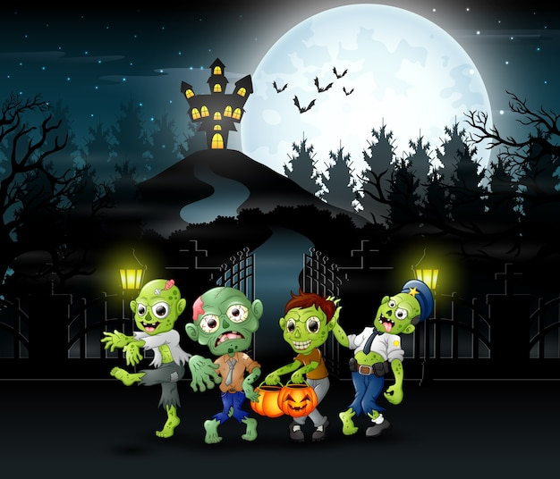 Cartoon of zombie group on the halloween
