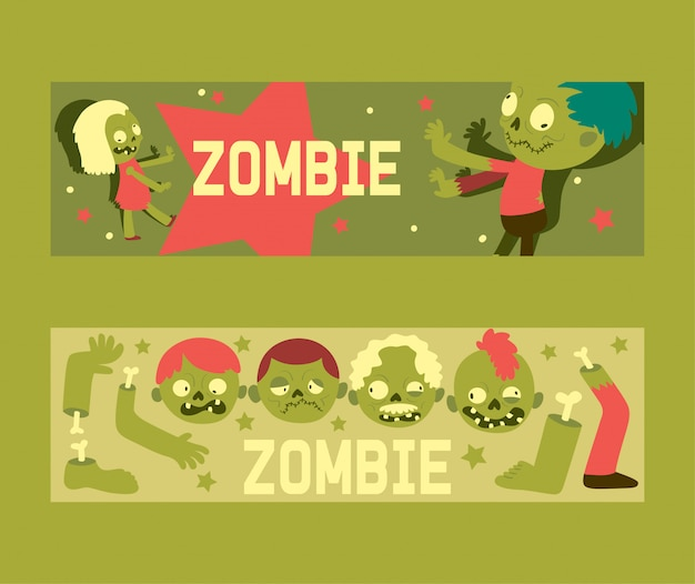 Cartoon zombie halloween scary monster character spooky banner set