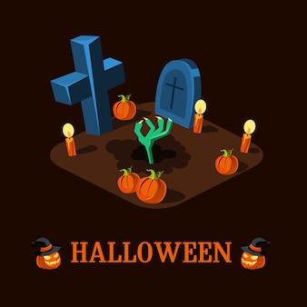 Cartoon zombie hand at cemetery halloween illustration