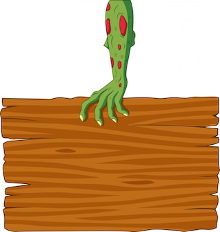 Cartoon zombie hand holding blank sign