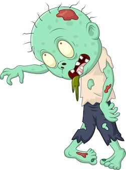Cartoon zombie isolated on white background