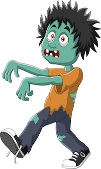 Cartoon zombie isolated on white background