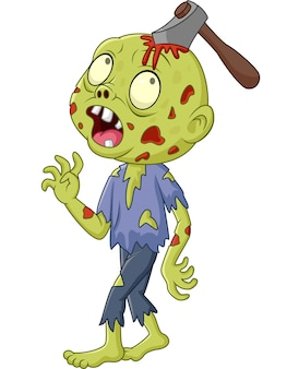 Cartoon zombie with axe in his head