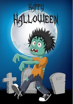 Cartoon zombie with halloween background