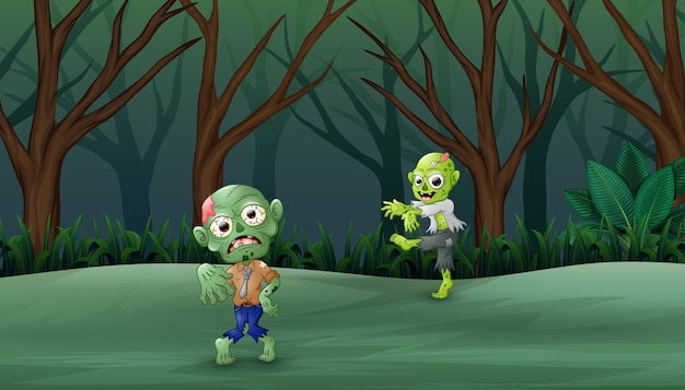 Cartoon zombies in the dead forest