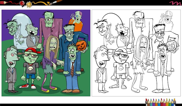 Cartoon zombies fantasy or halloween characters coloring book page