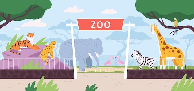 Cartoon zoo park entrance gate with savannah and jungle animals. flat safari landscape with zebra, african elephant and giraffe vector scene. outdoor summer nature with wildlife fauna