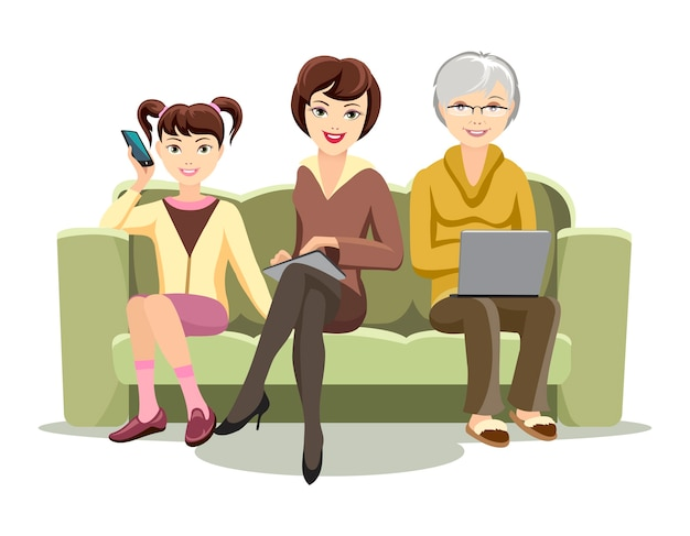 Cartooned females sitting on sofa with gadgets illustration