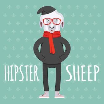 ライトグリーンの背景にフラットスタイルのイラストで漫画のヒップスター羊