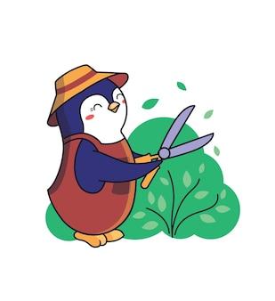 만화 같은 동물 펭귄은 덤불을 다듬는 정원사입니다.