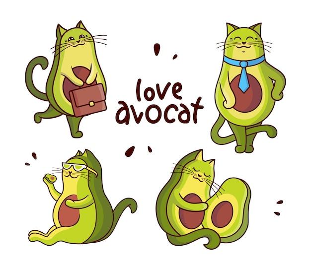 만화 같은 고양이는 아보카도와 건강한 생활 방식을 좋아합니다.