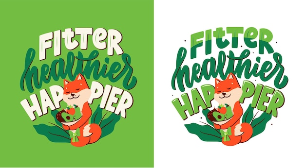 The cartoonish character hugs a bouquet of vegetables and fruits for healthy lifestyle. the akita dog with a lettering phrase - fitter, healthier, happier.