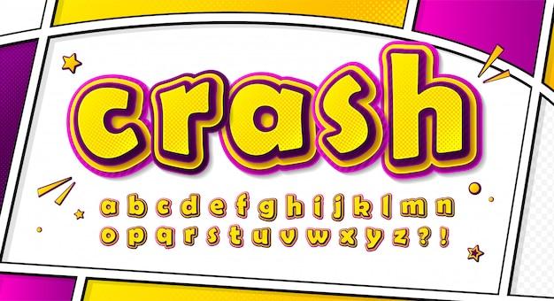 漫画のコミックフォント、ポップアートのスタイルのアルファベット。漫画本のページにハーフトーン効果のある多層イエローピンク文字