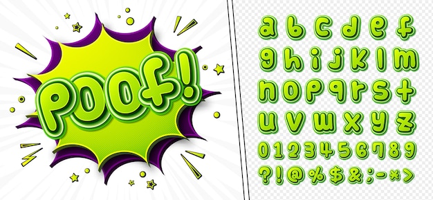 Cartoonish comics font, alphabet in style of pop art. multilayer green letters with halftone effect on comic book page