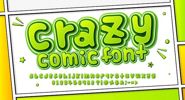 Cartoonish comics font, green alphabet in style of pop art. multilayer letters with halftone effect on comic book page