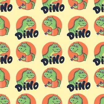 레터링 문구가있는 만화 공룡.