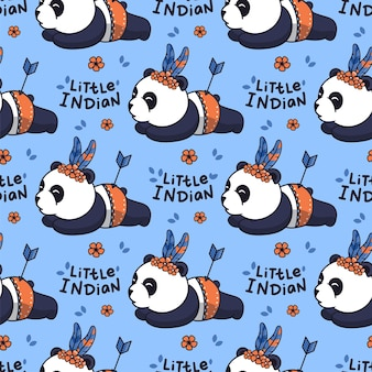 Cartoonish pandas with a lettering phrase - little indian.