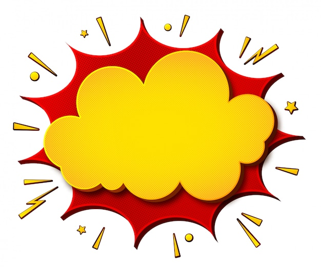 Cartoonish yellow-red comics banner щи white background. boom of speech bubbles