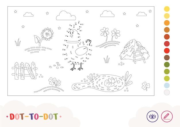 Мультяшный доттодот курица гуляет по сельской ферме, птичий двор, детская раскраска для детей дошкольного возраста