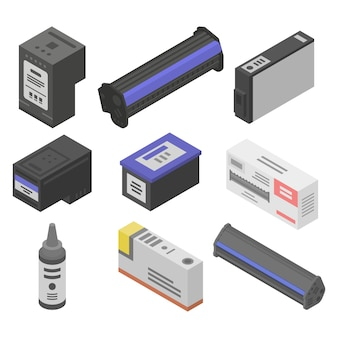 Cartridge icons set, isometric style