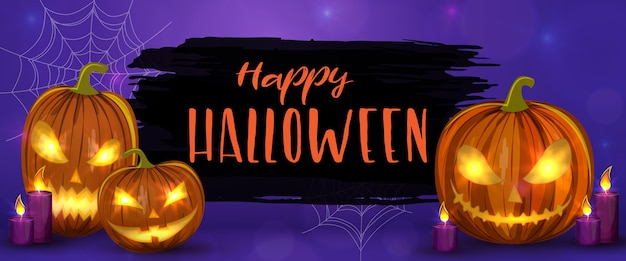 Carved halloween pumpkins, horizontal banner. colorful scary halloween illustration.