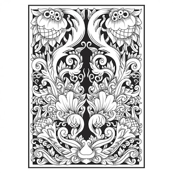 Carved openwork pattern flower illustration. indonesia motif.