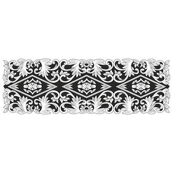 Carved openwork pattern illustration. indonesia motif. frame flower.