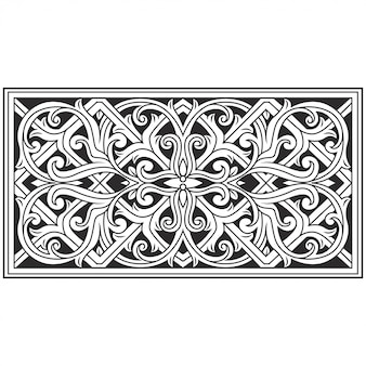 Carved openwork pattern illustration. indonesia motif. frame flower.